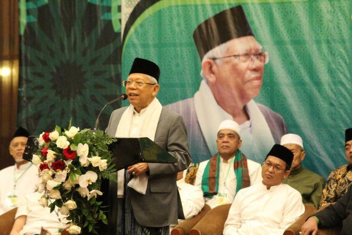 Wakil Presiden terpilih Prof. Dr (Hon.) KH. Ma'ruf Amin saat menyampaikan sambutan dalam acara Tasyakkur Kebangsaan Bersama Ulama di Bandung. Dok. Tim Media PWNU