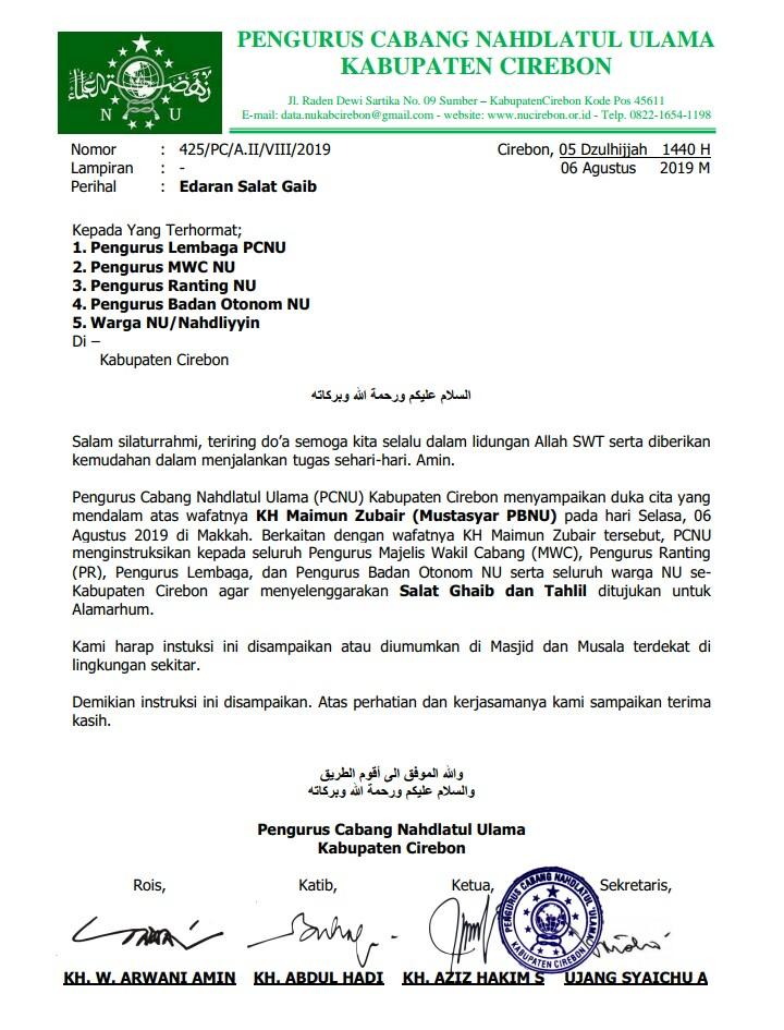 Pcnu Minta Nahdliyin Cirebon Shalat Ghaib Untuk Mbah Maimoen