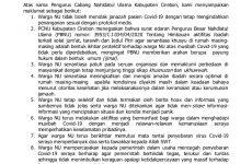 Ikhtiar Cegah Penyebaran Covid-19, PCNU Kabupaten Cirebon Keluarkan 8 Poin Maklumat